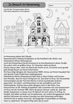 """Kleiner Mitdenktext """"Zu Besuch im Hexenweg""""   Dieses Blatt  enthält einen kleinen Text und ein dazugehöriges Bild dazu. Durch genaues Lese..."""