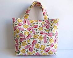 Women's Handbag, Tote Bag, Handmade Bag, Contains Pocket & Magnetic Button Closure, Pink and Green Bag, Cute Gift for Teenage Girl or Woman by RachelMadeBoutique on Etsy https://www.etsy.com/au/listing/495017156/womens-handbag-tote-bag-handmade-bag
