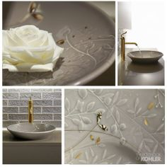 Gilded Meadow™ design on Conical Bell® sink  See more floral-inspired designs.