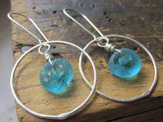 Baby Blues  SS Hoop earrings  hammered by TwigAndPebbleJewelry