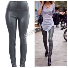 "Sexy faux leather leggings high waist New Gray/Grey Sexy vegan Faux leather leggings. High waist. Medium weight.  Lightly soft Fleece-lined. Very Stretchy . Fabric Content : 65% Polyester + 35% Cotton Measurements taken while laying flat Unstretched to stretched. Inseam : 27-28"" Total Length : 38-39"" Front Rise : 12"" Back Rise : 14""  Small Waist : 11-13"" Medium Waist : 12-14"" Large Waist : 13-15"" XL Waist : 14- 16"" S, M, L OR XL are available.  Available in Black, wine and navy blue in my…"