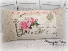 The Key to Paris French Postcard and pink roses pillow