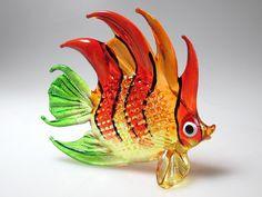 Underwater Handicraft MINIATURE HAND BLOWN GLASS Fish FIGURINE Collection # 68 #ZOOCRAFT