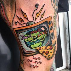 Child Teenager Mutant Ninja turtles tv Pizza Tattoo by RONJA Block 90s Tattoos, Cartoon Tattoos, Face Tattoos, Body Art Tattoos, Tattoos For Guys, Cool Tattoos, Pizza Tattoo, Tv Tattoo, Tattoo Blog