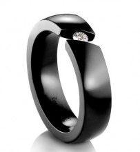 Black Tension-Set Cubic Zirconia Titanium Engagement Ring