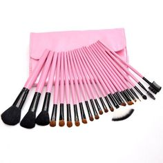 VALYRIA 23pcs Professional Cosmetic Makeup Brush Set with Pink Covered Button Bag >>> To view further for this item, visit the image link.