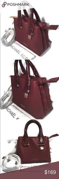 cbe2d35f4882 MICHAEL Kors Rollins SM Leather Oxblood Satchel NWT Michael Kors Rollins  small pebbled leather satchel