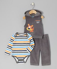 Take a look at this Gray Tiger Fleece Vest Set - Infant by Carter's Watch the Wear on #zulily today!