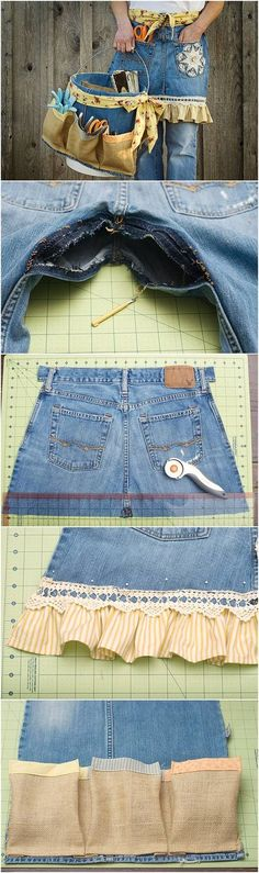 DIY Repurpose Old Jeans into Garden Apron and Tool Caddy - Sewing Projects Sewing Patterns For Kids, Sewing Projects For Kids, Sewing For Kids, Sewing Hacks, Sewing Crafts, Diy Kleidung, Sewing To Sell, Gardening Apron, Diy Mode