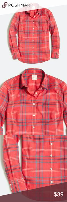 ❤ NWT J. Crew Plaid classic button-down shirt Plaid classic button-down shirt in perfect fit  Color red with lines in white, green, blue, purple Cotton. Long sleeves. Machine wash. Import. Item 0341. J. Crew Tops
