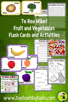 Te Reo Māori Fruit, Vegetables Flash Cards and Activities Maori Words, Visual Cue, Going Fishing, Teaching Materials, Fruits And Vegetables, Card Games, Language, Classroom, Activities