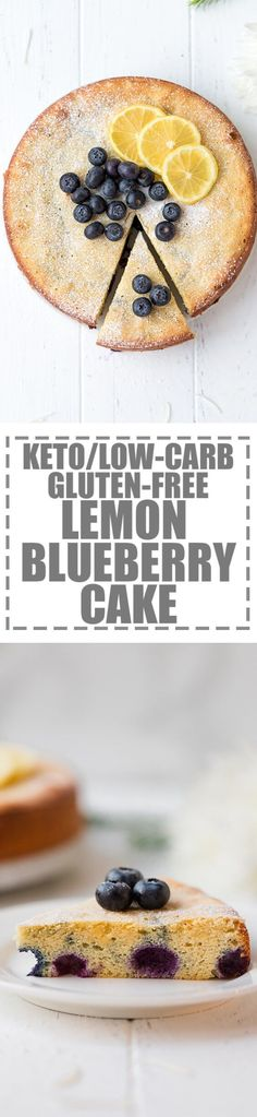 Keto Lemon Cake With Blueberries {Low-Carb, Gluten-Free} - quick and easy to make sugar-free cake, bursting with lemon flavor. Made with just 5 ingredients and ready in 40 minutes. The perfect low-carb dessert to serve with a cup of coffee or tea. #ketorecipes #ketogenic #lowcarb #glutenfree #lemoncake via @cookinglsl