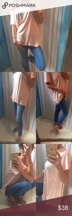Blush Oversize Pocket Tee This is my new go to!! Oversized loose fit pocket tee. Gives you that great laid back style with minimal effort. Great for weekend shopping trips!! 100% Modal. Modeling size S. Tops Tees - Short Sleeve