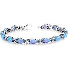 7.00 Carats Created Blue Opal Tennis Bracelet Sterling Silver Tear Drop Peora http://www.amazon.com/dp/B011LPI2NE/ref=cm_sw_r_pi_dp_QUSXvb140Q20X