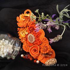 Freeform Crochet Cuff  Bracelet in Shades of by FlowereliaCrochet, €35.00