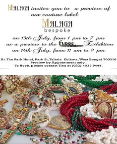 Calcutta! Pimento & Malaga Bespoke at Chor Bazaar (Fuss):14/7 at The Park Bespoke Preview:13/7-appointment details in pic!