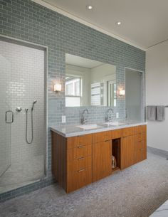 Bathroom Ideas, Grey Subway Tile Bathroom With Glass Shower Door And Large Frameless Mirror Above Double Sinks Wall Mounted Bathroom Vanity: Take a Good Decision of Subway Tile Bathroom