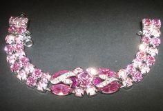 Vintage Signed EISENBERG ICE Firey Fuchsia Hot & Powder Pink Rhinestone Bracelet #EisenbergIce