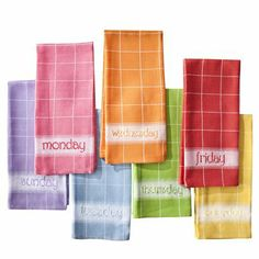 Happy Days Dish Towel Set of 7 - Assorted