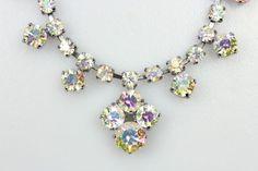 Beautiful Original 40s 50s Vintage Aurora Boreal Crystal Diamante Necklace #40s #50s #auroraboreal #diamante