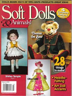 SOFT DOLLS /& ANIMALS~Aug//Sept 2016 cloth doll patterns~techniques~tips magazine