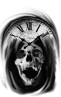 Sign of the times?Depends on witch side you rule with . Clock Tattoo Design, Skull Tattoo Design, Skull Design, Tattoo Designs, Evil Skull Tattoo, Skull Tattoos, Body Art Tattoos, Sleeve Tattoos, Stencils Tatuagem