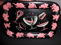 Vintage Pink Elephant Lot of Barware Retro 1950's by markusdata. $50.00, via Etsy.