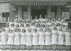 Tongres, Belgium. Nurses, Group Photo, from 25th General Hospital: Courage & Skill in World War II -- for an exhibit highlighting movements, personal     narratives and medical contributions see http://digitalprojects.libraries.uc.edu/exhibits/25thGeneralHospital/;     for entire collection see http://digproj.libraries.uc.edu:8180/luna/servlet/s/4lcgzb; connect on Facebook and     share your own WWII General Hospital stories at http://www.facebook.com/UC25thGeneralHospital.