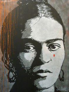"""-Jef Aérosol- """"Frida Khalo"""" (2013) (Pochoir sur toile. 200 x 150 cm)"""