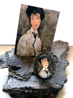 """#ArtPassionBijoux bySara, #italian #handmade #jewelry inspired by #art - #Modigliani's painting """"Portrait of a woman in a black #tie"""" #medallion, bronze #necklace, filigree and glass, art collection"""
