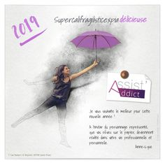 Ecard professionnelle Nouvel an Supercalifragilisticexpiadélicieux Ecards, Violet, Cover, Books, Movie Posters, Gray, Positive Vibes, Virtual Card, Persona