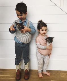 Our striped Solly Dolly is back in stock, meriting a quick flashback to my littles and the most patient kitties in the whole world.