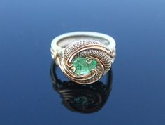 Green Garnet silver and gold handmade jewelry by TendaiDesigns heady wire wrap