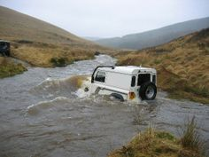 Land Rover Defender 90 hard top, river crossing. Like it!