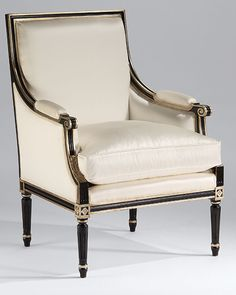 luxury furniture | armchairs | hand-crafted in Italy Louis XVI style armchair in antique black finishwith antiqued gold-leaf trim and off-white upholstery