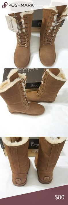 """Bearpaw Karen Boots Round toe - Lace-up vamp - Suede construction - Wool blend lining - Genuine sheepskin footbed - Raised front shaft - Approx. 11"""" shaft height - Approx. 0.5-0.75"""" platform - ImportedMaterials Suede upper, wool blend lining, genuine sheepskin footbed (origin: China), TPR sole Color: Hickory II New in Box BearPaw Shoes Lace Up Boots"""
