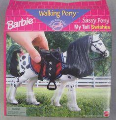 Walking pony sassy pony my tail swishes 2 Barbie Pony, Barbie Horse, Barbie 80s, Barbie Life, Vintage Barbie Dolls, Barbie And Ken, Vintage Toys, Barbie Stuff, New Dolls