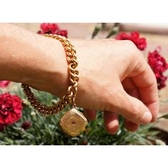 Victorian 14K Rose Gold Charm Bracelet Photo Locket ($1,350) ❤ liked on Polyvore featuring jewelry, 14k rose gold jewelry, snap button jewelry, 14k jewelry, lock jewelry and snap beads jewelry