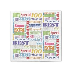 Unique And Special 100th Birthday Party Gifts Napkin - birthday gifts party celebration custom gift ideas diy