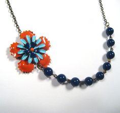 Twiggy Vintage Enamel Flower Necklace by SpiderellaStudio on Etsy