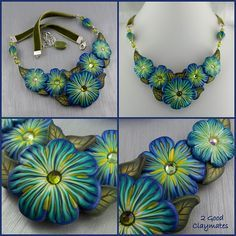 Floral Collar in Shades of Blue by 2 Good Claymates, via Flickr