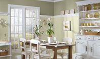 Kitchen with Benjamin Moore paint colors: tree moss 508; dune grass 492.