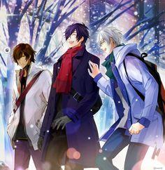 「私服を着て冬の街を歩く伊達組の3人」 伊達組 刀剣乱舞
