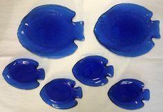 Arcoroc France Cobalt Blue Poisson Saphir / Sapphire Glass Fish Plate Set of 6 #Arcoroc