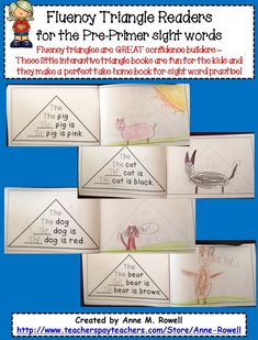 Fluency triangle readers {reading fluency} - FUN for kids and makes a great take home book for kids to practice sight words! Teaching Kindergarten, Teaching Reading, Guided Reading, Teaching Ideas, Preschool, Early Reading, Reading Fluency Activities, Reading Comprehension, Read To Someone