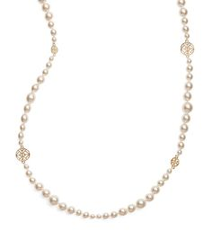 Tory Burch Crystal-pearl Long Necklace
