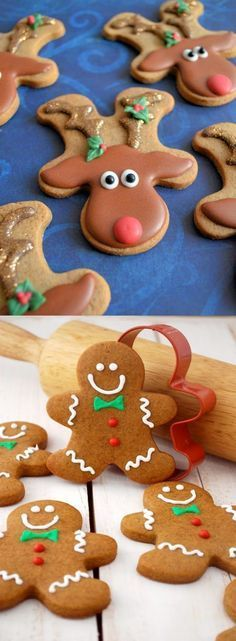 ginger bread cookies recipe christmas holiday baking better both made of ginger bread mold Holiday Cookies, Holiday Treats, Holiday Recipes, Christmas Ginger Cookies, Christmas Recipes, Christmas Biscuits, Reindeer Biscuits, Holiday Decor, Christmas Sweets