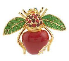 Joan Rivers apple bee brooch