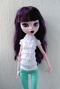 17 inch Monster High set outfit Hand-knitted white sweater