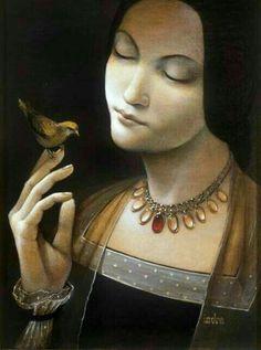 Women in Art History — Indra Grusaite Portrait Art, Bird Art, Female Art, Painting & Drawing, Art History, Pinup, Madonna, Contemporary Art, Illustration Art